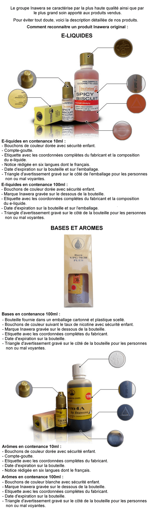 Description e-liquides et aromes Inawera